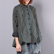 Women Stripe Splicing Loose Spring Casual Shirt