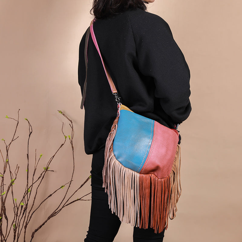 Women Stylish Contrast Tassel Shoulder Bag Crossbody