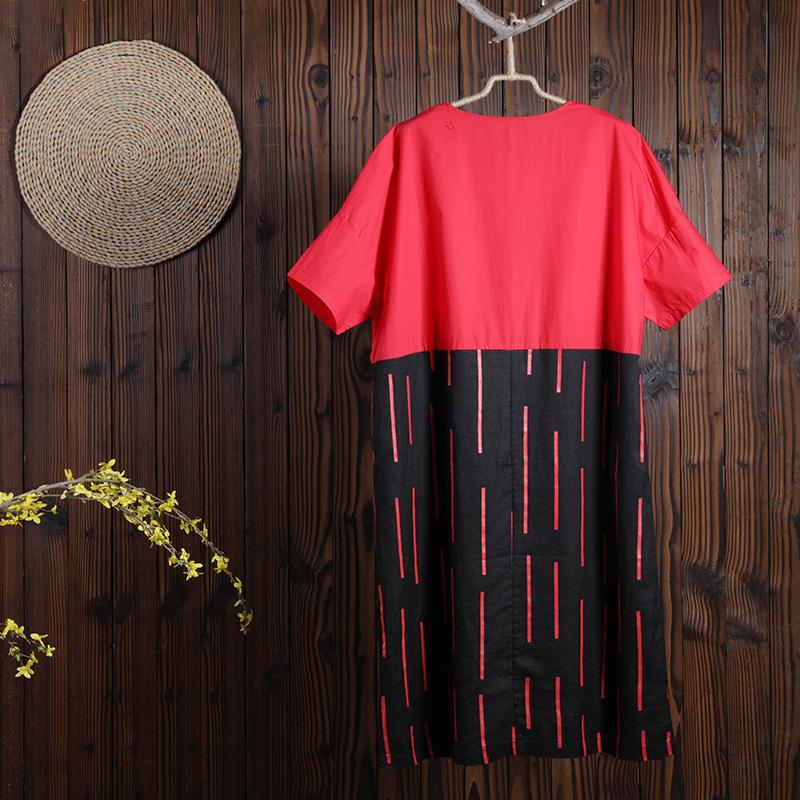 Women Summer Casual Other Mid-Calf Pullover Loose Short Sleeve Dress
