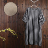 Women Summer Casual Plaid Short Sleeve Loose Dress