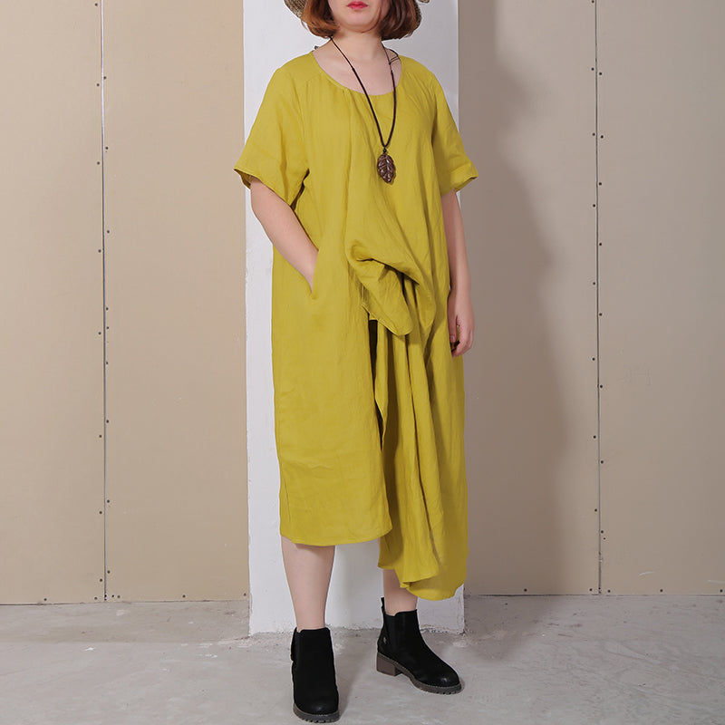 Women Summer Casual Solid Loose Short Sleeve Dress