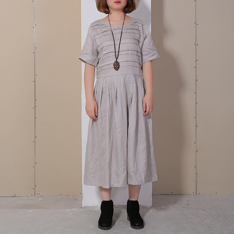 Women Summer Casual Solid Pullover Loose Short Sleeve Maxi Dress