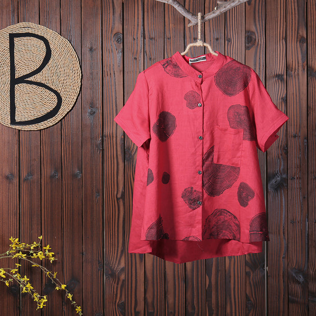 Women Summer Casual Stand Collar Printing Short Sleeve Shirt