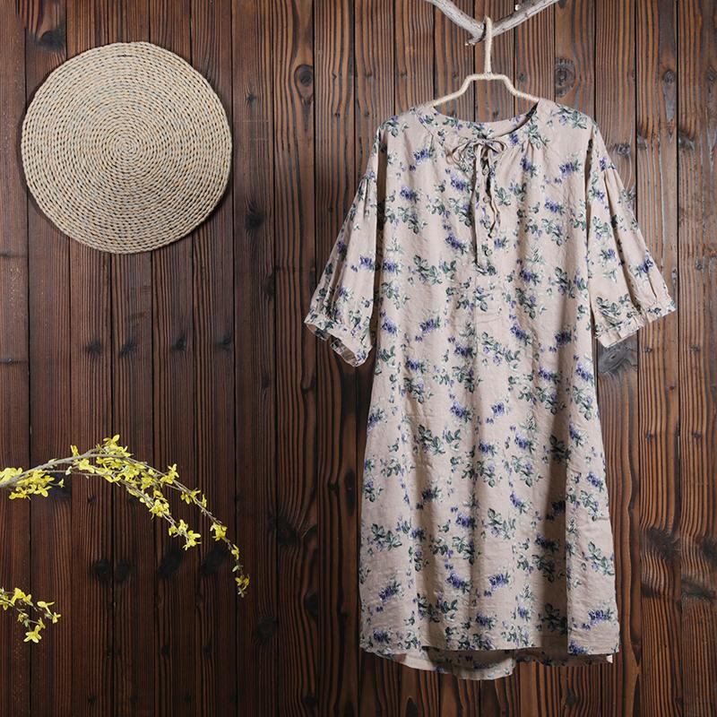 Women Summer Floral Casual Short Sleeve Loose Dress
