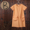 Women Summer Loose Causal Cotton Orange Dress