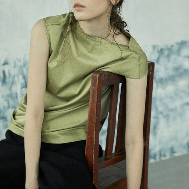 Women Summer Short Sleeve Asymmetric T-shirt In Green