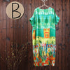 Women Summer Short Sleeve Printing Maxi Dress