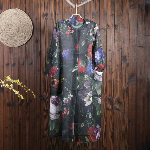 Women Summer Vintage Flower Cardigan Long Sleeve Outwear