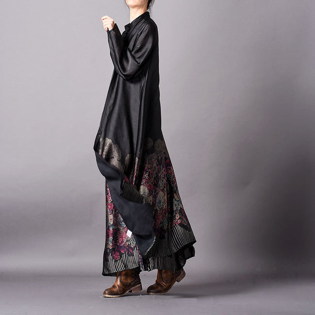Women Tencel Retro Print Long Cardigan