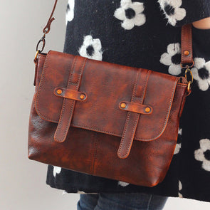Women Vintage Brown Leather Little Crossbody Bag