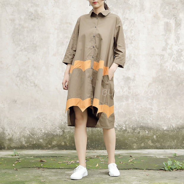 Women Vintage Casual Splicing Summer Irregular Coffee Shirt Dress