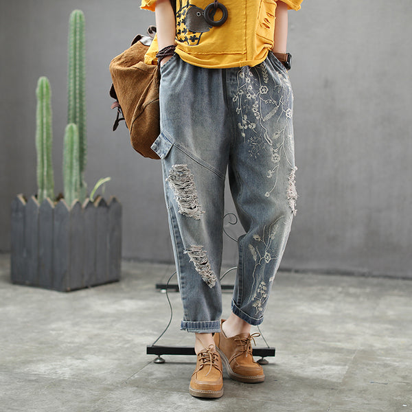 Women Vintage Hole Embroidery Spliced Jeans