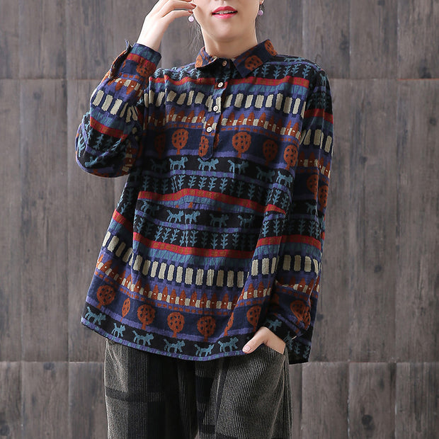 Women Vintage Loose Printed Long Sleeve Shirt