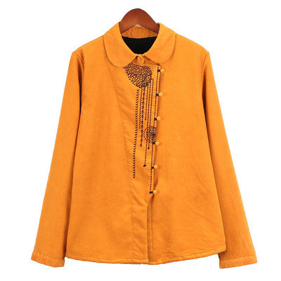 Women Vintage Retro Cardigan Loose Embroidered Shirt