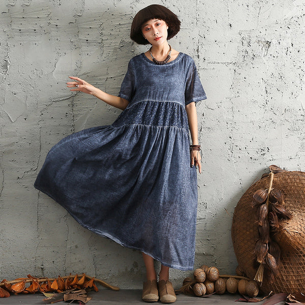 Women Vintage Short Sleeve Summer Linen Dress