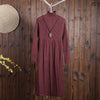 Women Winter Casual Solid Mid-Calf Pullover Loose Long Sleeve Dress