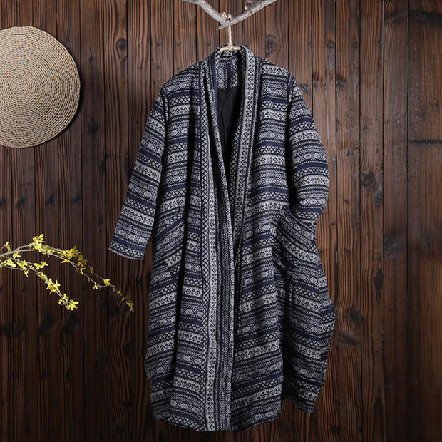 Women Winter Vintage Abstract Cardigan Long Sleeve Coat