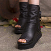 Women Zipper Black Peep-toe Booties