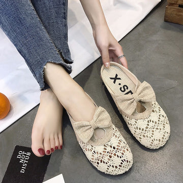 Women's Casual Retro Linen Lace Bow-knot Slippers Sandals