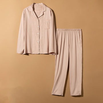 Women's Long-Sleeved Cotton Silk Pajamas Set