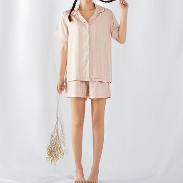 Women's Summer Short-Sleeved Shorts Striped Pajamas Suit
