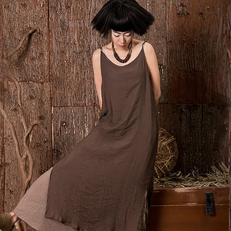 Women's Summer Casual Linen Double-Layer Slip Dress