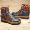 Women's Vintage Cowhide Woven Boots Shoes