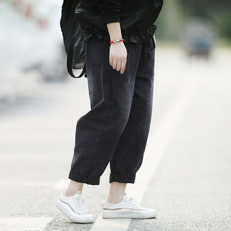 Womens Baggy Washed Plain Casual Harem Pants