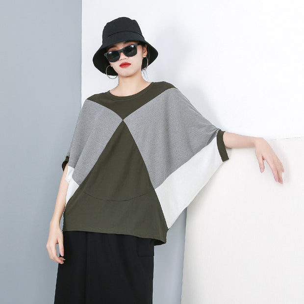 Womens Casual Contrast Batwing Sleeve T-Shirt Top Summer