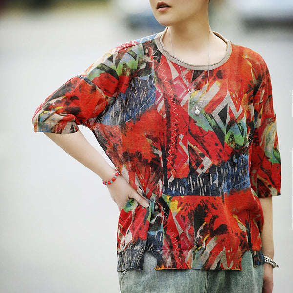 Womens Casual Loose Linen Multicolor T-Shirt