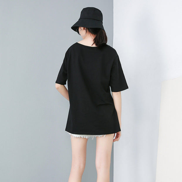 Womens Hi-Lo Side Slit Solid Summer T-Shirt