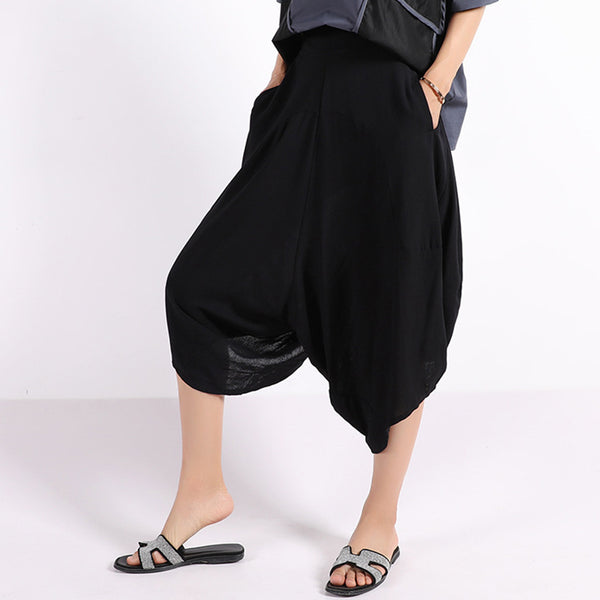 Womens Hippie Baggy Linen Capri Drop Crotch Pants