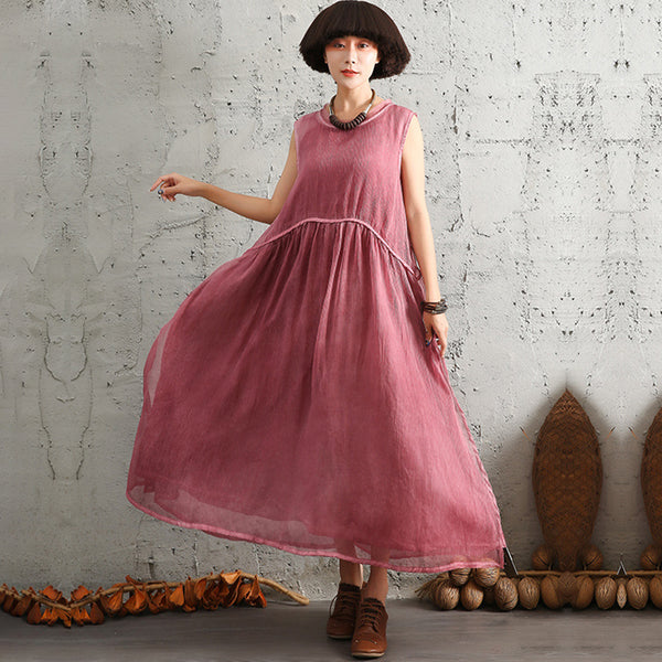 Womens Ladies Summer Linen Loose Sleeveless Dress