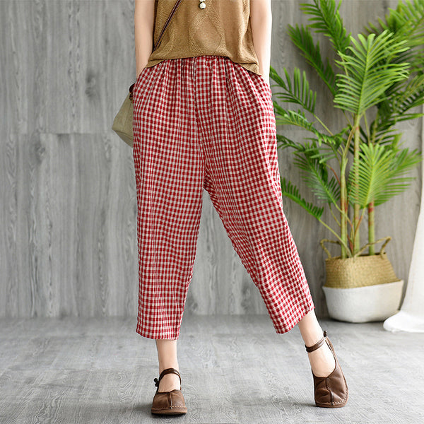 Womens Plaid Casual Loose Pants Trousers