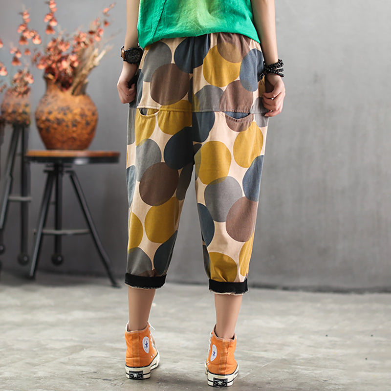 Womens Summer Geometric Casual Capri Harem Pants