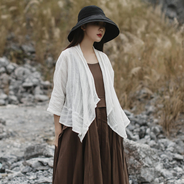 Womens Summer Retro Solid Cardigan Shawl Coat