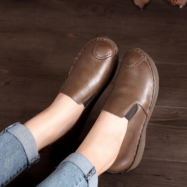 Womens Vintage Handmade Leather Stitching Slip-On Loafers