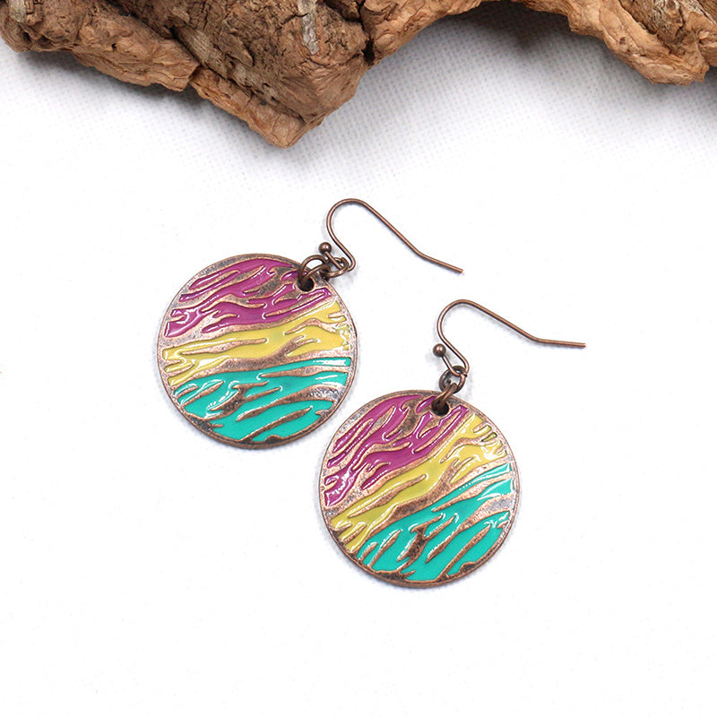 Womne Vintage Round Alloy Earrings