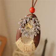 Wooden Hemp Romp Flower Vine Bird Pendant