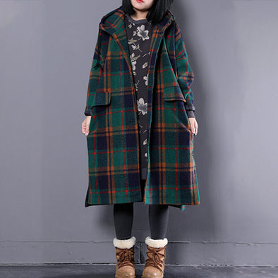 Woolen Blend Plaid Green Winter Overcoat