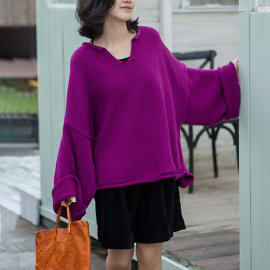 Cotton Sweater Women Flare Sleeve Pullover