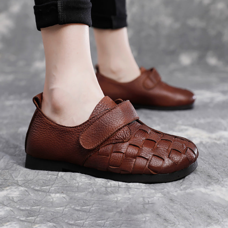 Woven Plaid Retro Flat Leather Shoes