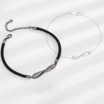 Woven Silver Couple Bracelets Gift