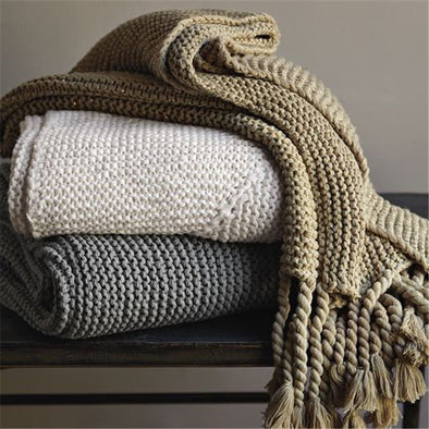Woven Acrylic Simple Soft Tassel Blanket