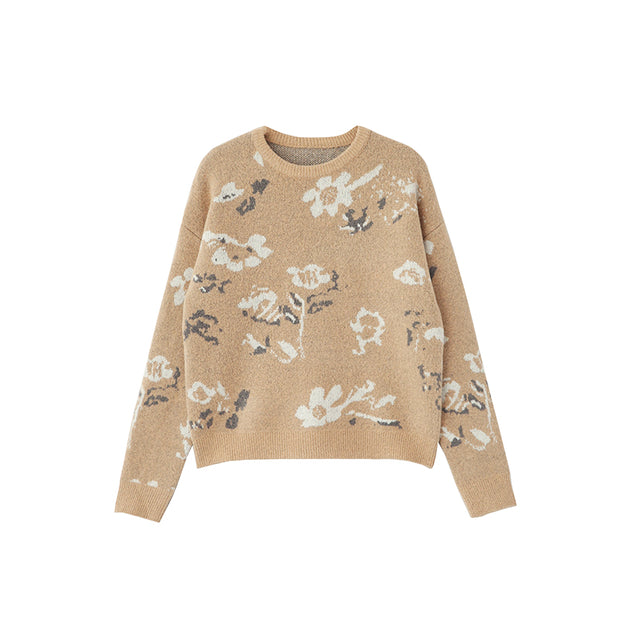Woven Flower Casual Soft Elegant Sweater