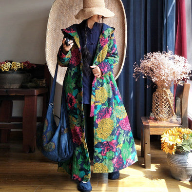 X-long Ethnic Hooded Thick Cotton Overcoat