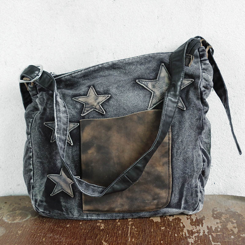 Star Leather Casual Women Canvas Shoulder Bag - Buykud