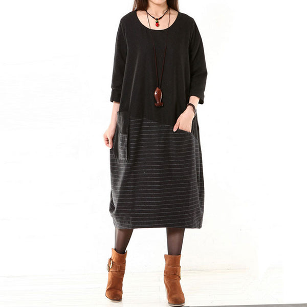 Women Wool Dress Loose Dress Autumn Dress 3/4 Sleeve Dress Large Size Dress