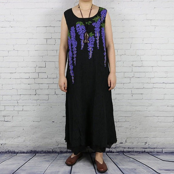 Women summer Hand embroidery cotton linen vest dress