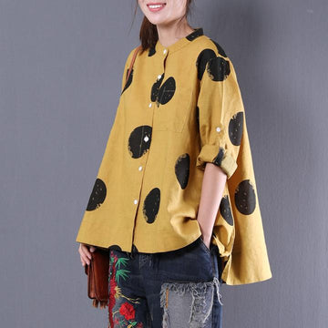 PLUS Size - Loose Dots Stand Collar Long Sleeve Linen Shirt